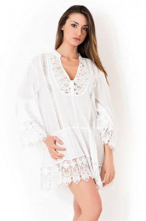 Пляжная туника LUX mini white, 100% хлопок