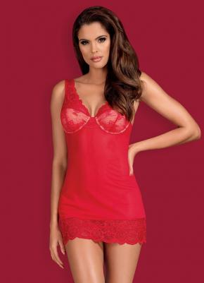 Сорочка Obsessive - 853 RED + стринги, 3 цвета