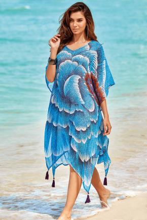 Пляжная макси туника Iconique - FUEGO Blue