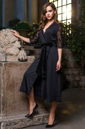 Халат кимоно макси Elegance de Lux - BLACK